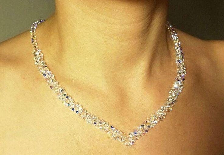 Swarovski Crystal necklace Swarovski Crystal V Necklace Special Day Necklace Clear AB Necklace Bridal Crystal Necklace Wedding Necklace by AuroraCrystalPassion on Etsy