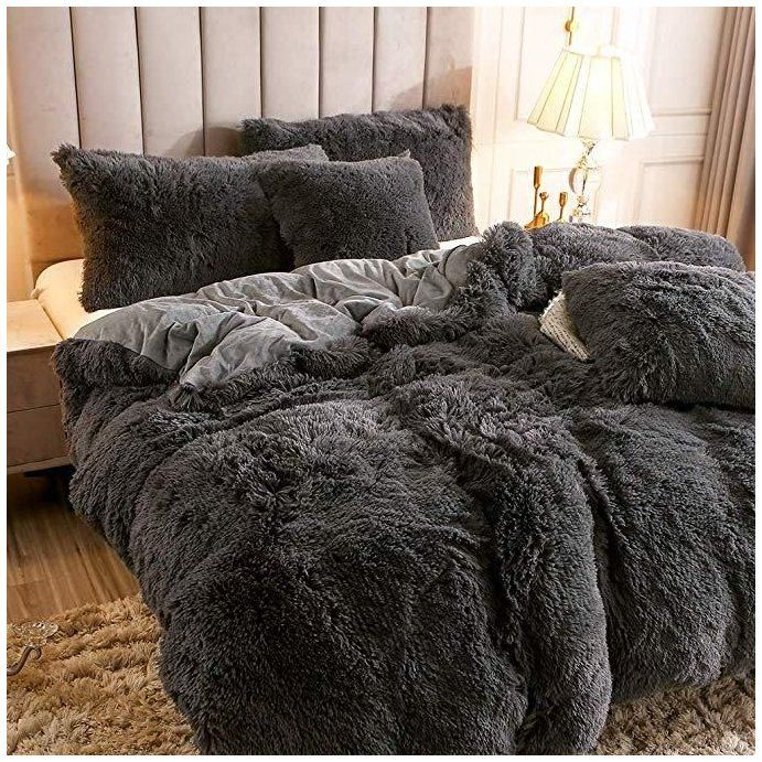 Fluffy Duvet Cover With Pillow Cover 3 Pieces Set Fluffy Duvet Aesthetic So Warm And Cute This Bedding Sets Prote Fluffy Bedding Fluffy Duvet Black Bedding