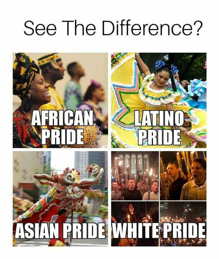 there is people on both sides who act like both, some people are proud of their white culture i dont really care thoug. there are plenty of black latino people who act like the ''white pride'' picture above