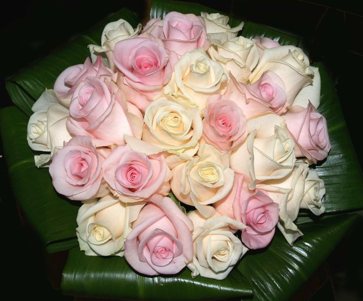 Wedding Bouquet White and Pink Roses