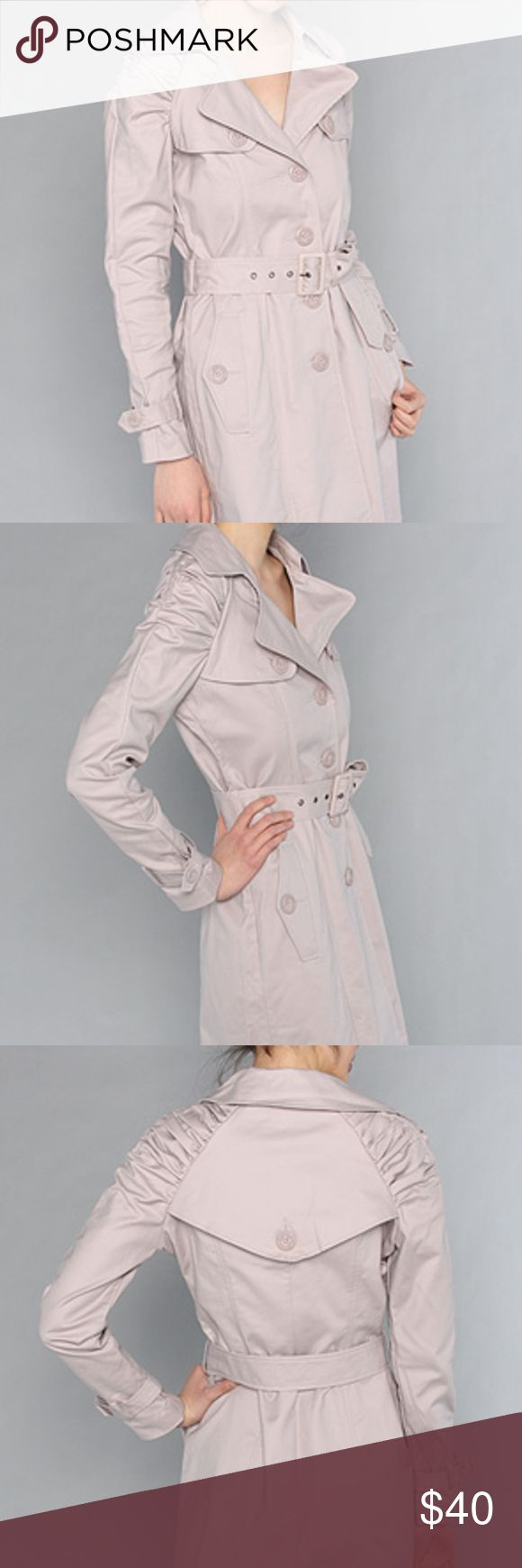 NWT BB Dakota Southard Jacket (Ruched Trench) BB Dakota Southard Jacket / Large / NWT, never worn / Cloud Violet (light, dusty lavender) / Twill mid-length belted trench with button closure / Ruching on shoulders / Button flap side pockets / Button flap cuff fasteners / Button flap back yoke / 95% Cotton, 3% Polyester, 2% Spandex BB Dakota Jackets & Coats Trench Coats
