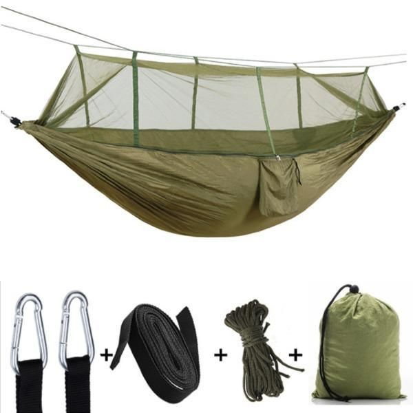 Outdoor Camping Hammock Portable Hanging Bed With Mosquito Net Sleep Rockcoo In 2020 Hammock With Mosquito Net Hammock Camping Outdoor Hammock