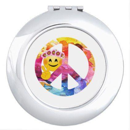 #Peace Sign Hippie Emoticon Watercolor Art Vanity Mirror - #emoji #emojis #smiley #smilies