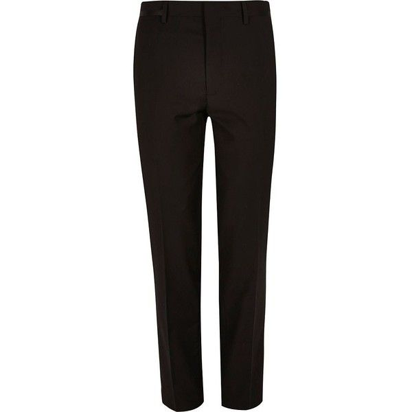 River Island Black skinny fit suit trousers ($19) ❤ liked on Polyvore featuring men's fashion, men's clothing, men's pants, men's dress pants, sale, tall mens dress pants, mens 5 pocket pants, mens skinny suit pants, tall mens pants and mens skinny dress pants