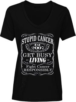 Stupid Cancer - Stupid Cancer Girls Black Prohibition V-Neck, $20.00 (http://www.stupidcancerstore.org/stupid-cancer-girls-black-prohibition-v-neck/)