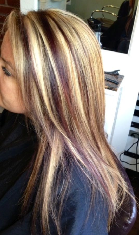 Blonde highlights with red lowlights