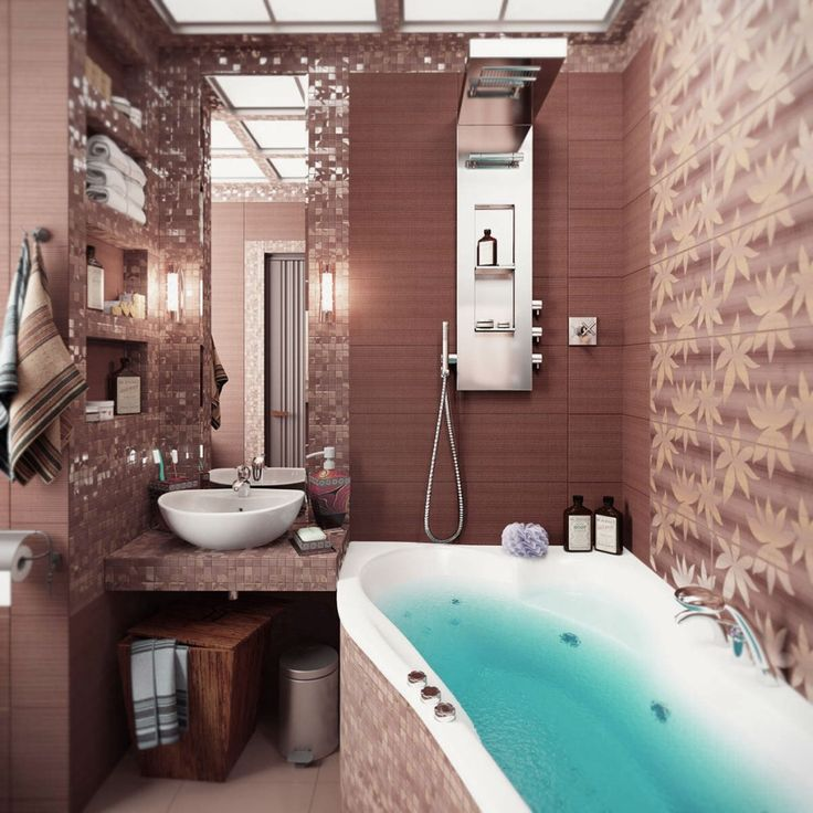 Bathroom Brown Wall Themed Small Cozy Modern Bathroom Designs Feat 3D  Floral Motive And White Bathtub