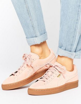 Puma - Scarpe da ginnastica classiche scamosciate rosa con suola in gomma