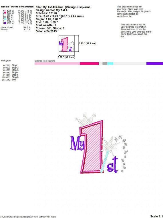 My 1st Birthday Princess 4x4 2 piece Machine by HoopMamaEmbroidery