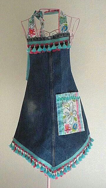Delantal reciclado de viejos jeans