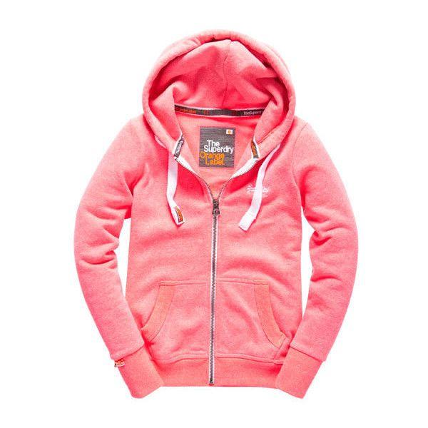 Orange Label Zip Hoodie ($100) ❤ liked on Polyvore featuring tops, hoodies, neon pink snowy marl, orange zip up hoodie, zip hooded sweatshirt, orange hoodie, red zipper hoodie and red hooded sweatshirt