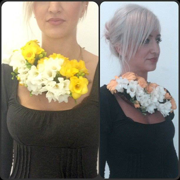 Fresh flower temporary neckpiece. Floral foam, coconut husk, fresh flowers.