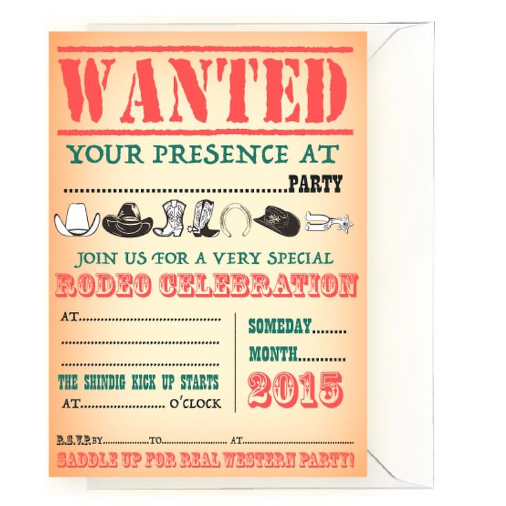 20 Western Party Invitations Orange for any occassion