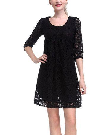 Black lace scoop neck dress
