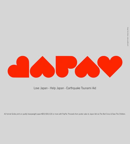 "Source: Paul Vickers - ""Love Japan, Help Japan"". The love heart symbol cleverly becomes a typographic style, spelling out ""Japan"" and creates a hopeful, charitable mood."