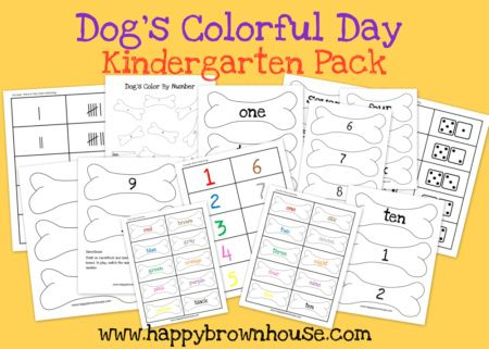 Free printable Dog's Colorful Day Kindergarten Pack from Sara @Sara Eriksson @Sara @HappyBrownHouse