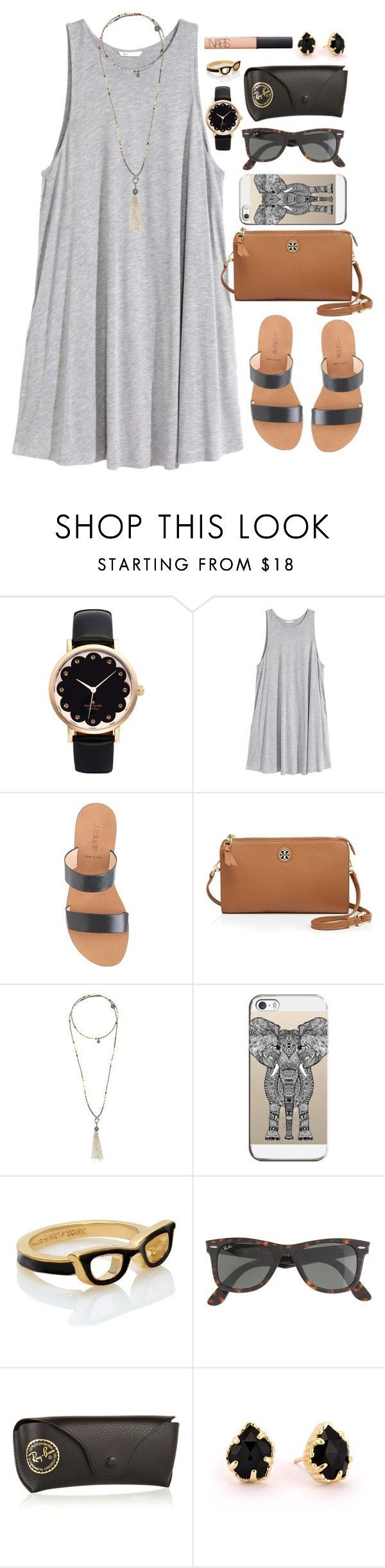"""Untitled #879"" by julesnewkirk ❤ liked on Polyvore featuring Kate Spade, H&M, J.Crew, Tory Burch, Bettina Duncan, Casetify, Ray-Ban, Kendra Scott, NARS Cosmetics and julesbestsets"