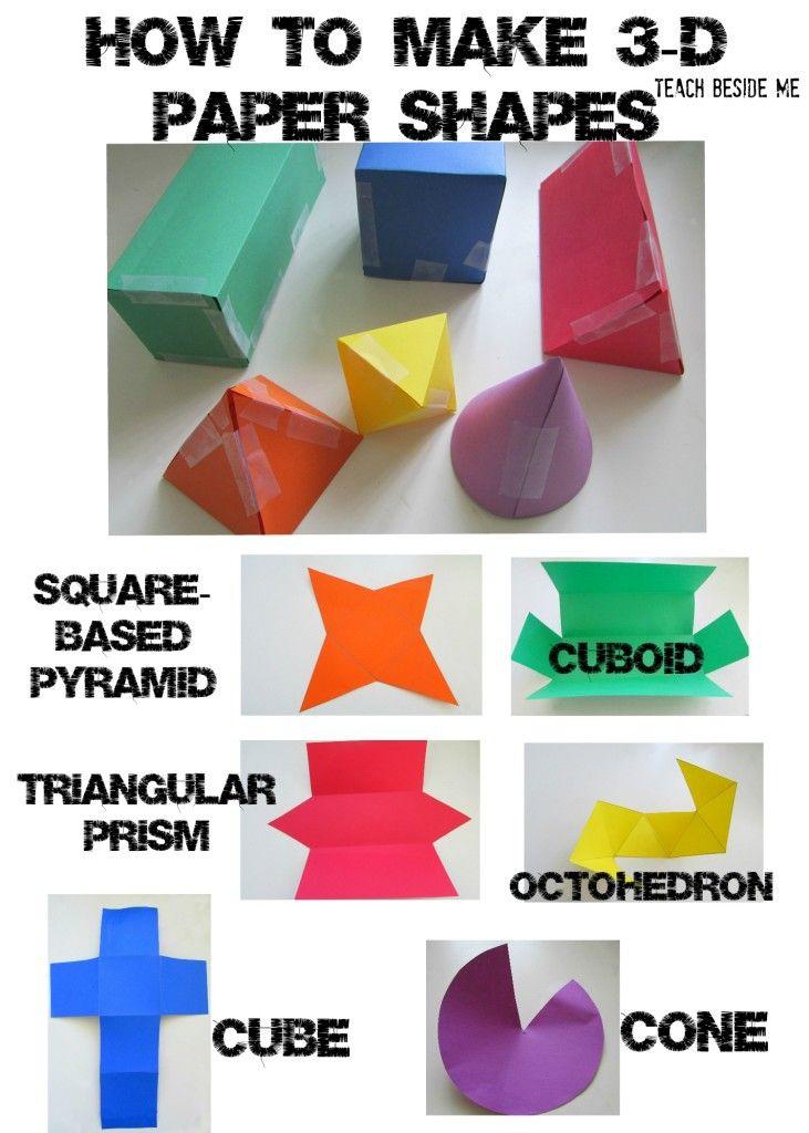 3D Paper Shapes :: shape activities :: maths construction activity