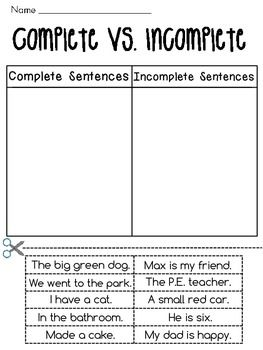 Complete sentences vs. incomplete sentence practice - 3 cut and paste worksheets for kids to practice complete sentences vs. incomplete sentences!
