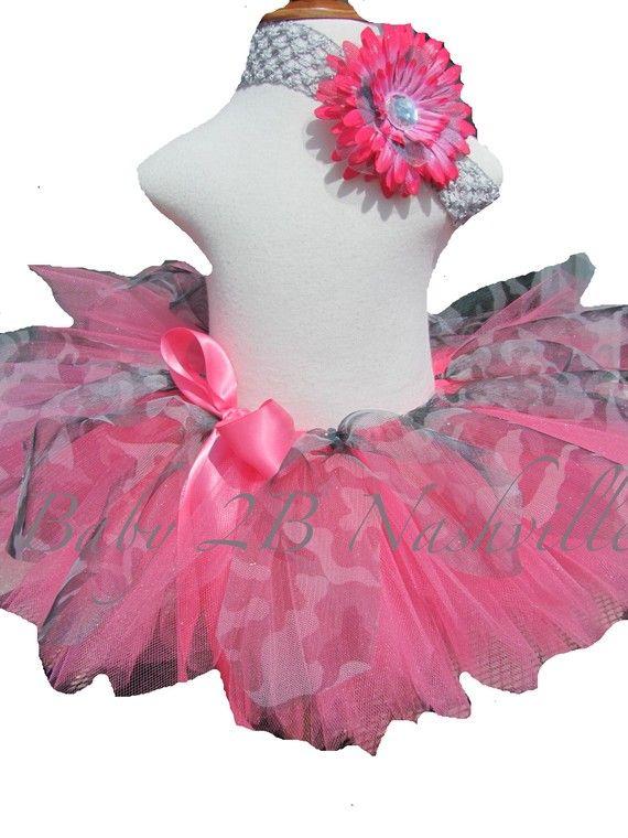 Toddler Tutu in Shocking Pink and Grey Camo by Baby2BNashville, $34.00