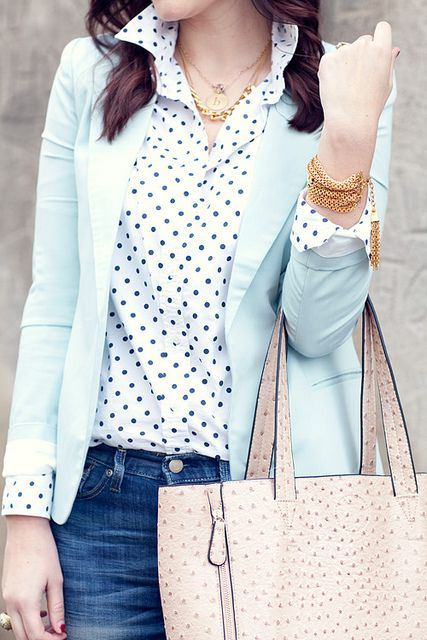 Gap polka dot shirt and Blazer