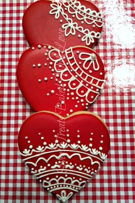 Wedding Shower Heart Cookies  Piped Lace