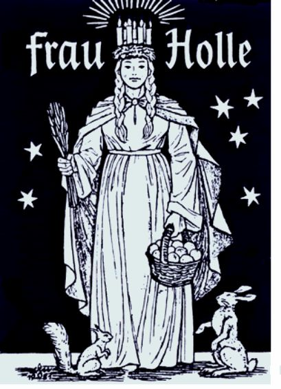 Frau Holle also known as Hulda. A great Primordial Goddess of Norse spirituality. Hulda is associated with Magic, ponds, Earth, and primordial energies.