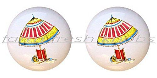SET OF 2 KNOBS - A Day At The Beach I - Beach - DECORATIVE Glossy CERAMIC Cupboard Cabinet PULLS Dresser Drawer KNOBS