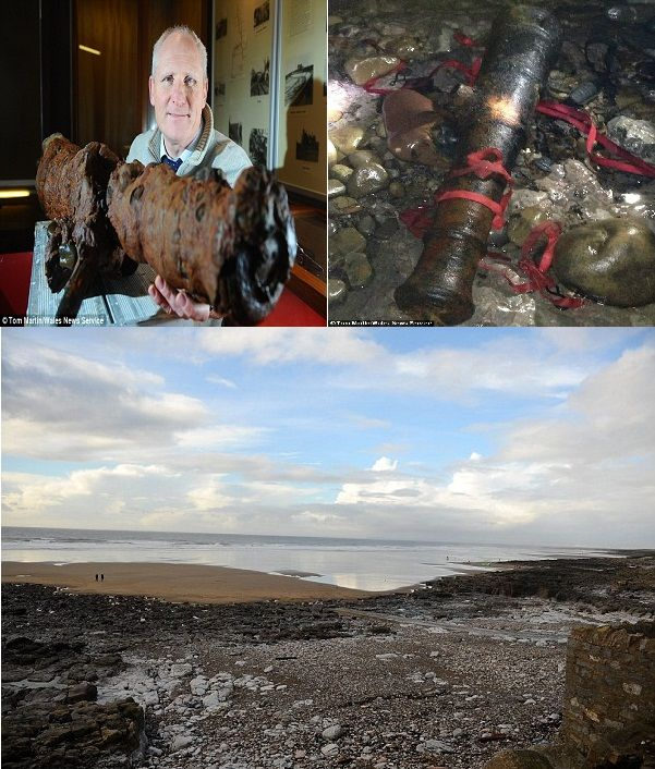 200-Year-Old Cannons Under South Wales Beach Bared by Storms - http://www.warhistoryonline.com/war-articles/200-year-old-cannons-under-south-wales-beach-bared-storms.html