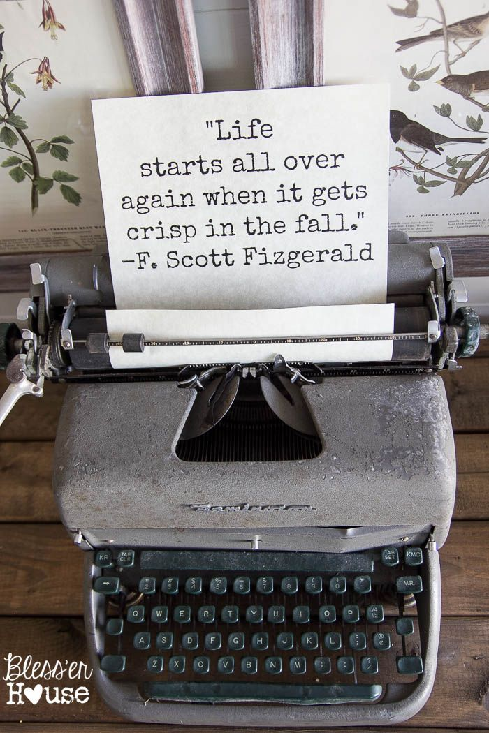 "typewriter with different words ""typed"" for each season or special days!"