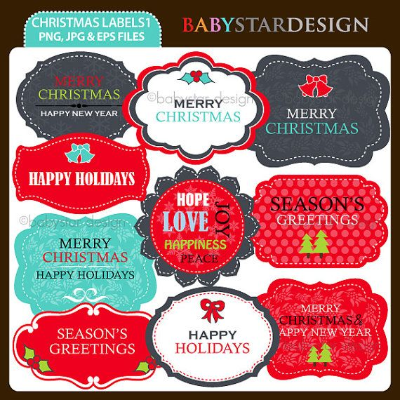 Christmas Labels 1 Clipart INSTANT DOWNLOAD