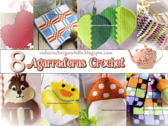 Todo crochet: 8 Agarraderas Crochet con esquemas / DIY