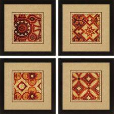 Jewels 4 Piece Framed Graphic Art Set
