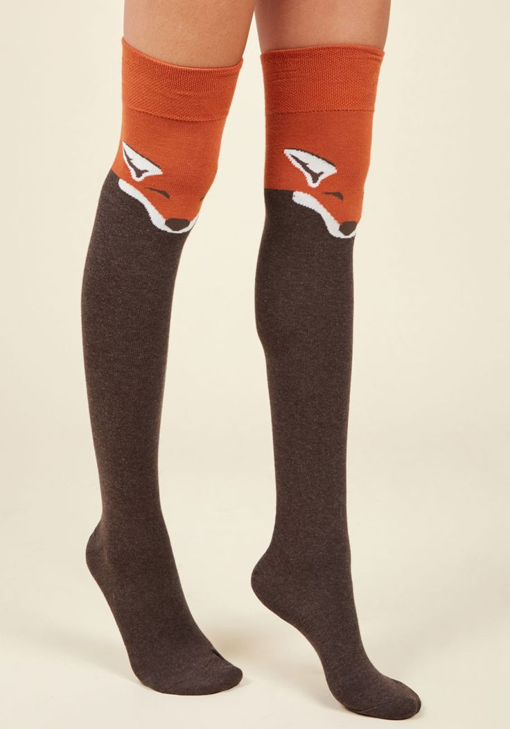 Fur the Win Thigh Highs in Brown Fox | Mod Retro Vintage Socks | ModCloth.com  Every outfit becomes a stylish victory when sporting these critter printed socks! Sleepy, pumpkin-orange foxes festoon this over-the-knee pair, boasting an undeniably adorable appeal.