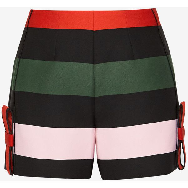Ted Baker Cruise Stripe bow shorts ($175) ❤ liked on Polyvore featuring shorts, ted baker, stripe shorts, zipper shorts, ted baker shorts and zip shorts