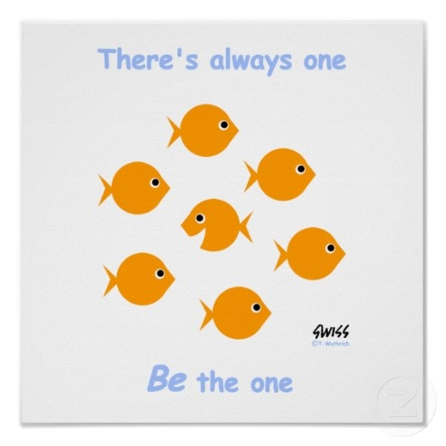 Inspirational poster - cute cartoon fish standing out from the crowd towards success and individuality