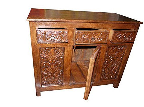 Antique Media Sideboard Console Buffet Floral by MOGULGALLERY