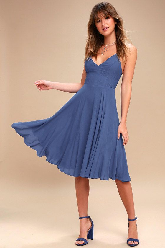 fda622d8c89 Troulos Denim Blue Lace-Up Midi Dress 1