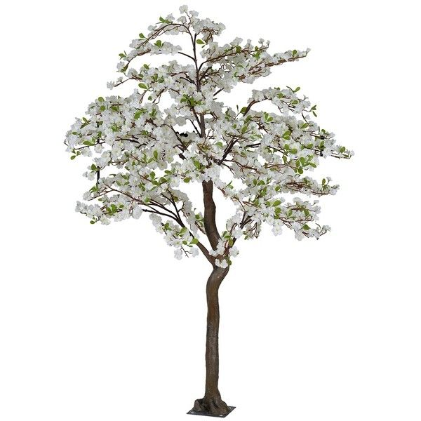 White Faux Apple Blossom Tree, 7 ft. (805 CAD) ❤ liked on Polyvore featuring home, home decor, floral decor, outdoor artificial trees, fake outdoor trees, flower stem, spring blooming trees and artificial trees