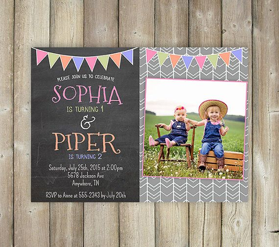 JOINT BIRTHDAY INVITATION - Double Birthday Party - Dual Birthday Party - Sisters - Brothers - Friends - Twins - Digital File