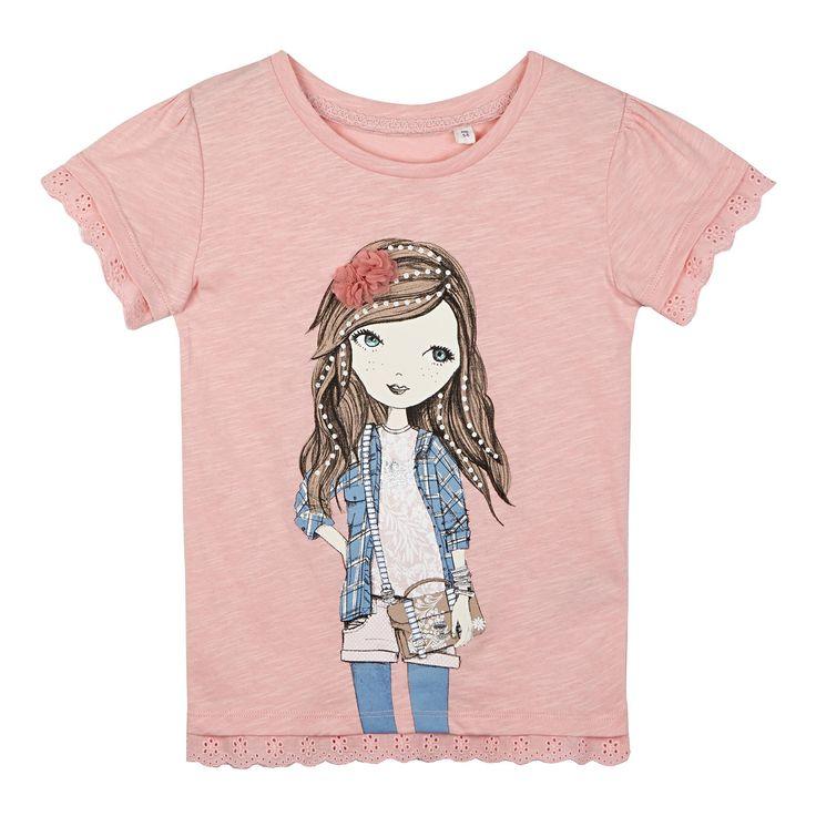 Girl's pink girl broderie t-shirt - T-shirts & tops - Debenhams.com