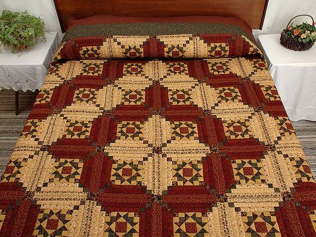 Log Cabin Diamond Star Quilt   Burgundy Gold and Green Stars in the Cabin Quilt