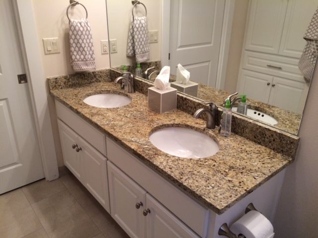 New venetian gold granite donated by Pacific Shore Stones for the bathroom of Sgt Ray Coffey's new home in Georgetown, TX.