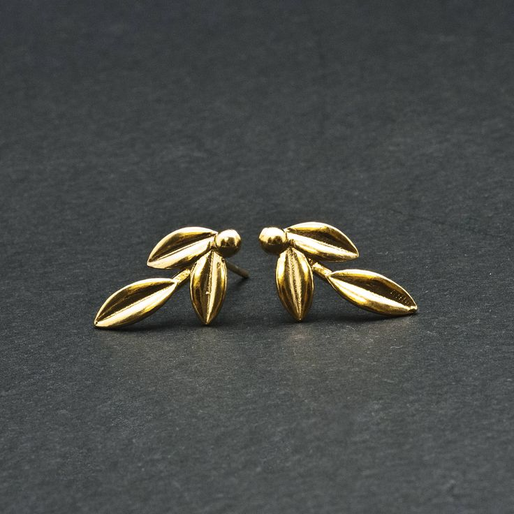 Gold Olive Leaves Small Stud Earrings, Greek Goddess Athena Jewelry