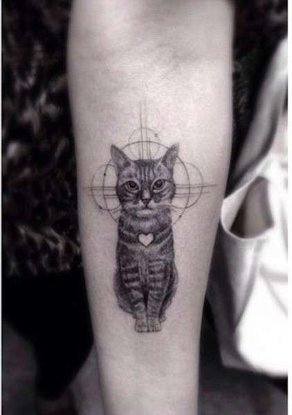 Tatuaggi con gatti - Tatuaggio con gatto realistico