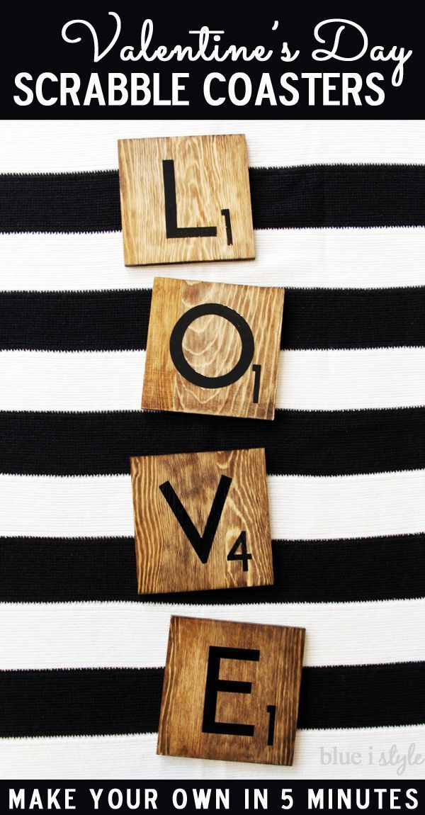 Spread the LOVE this Valentine's with Scrabble tile coasters that you can make in just 5 minutes! They make the perfect Valentine's Day gift for that special someone!