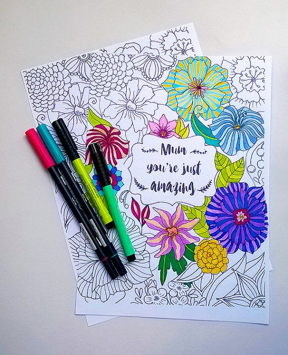 Mother's day gift, hand drawn coloring page, mother's day quote, instant download, flower pattern, printable coloring page, flower page