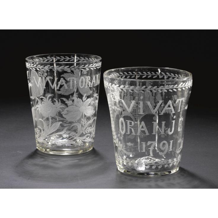 TWO DUTCH-ENGRAVED ORANGIST GLASS BEAKERS, CIRCA 1790
