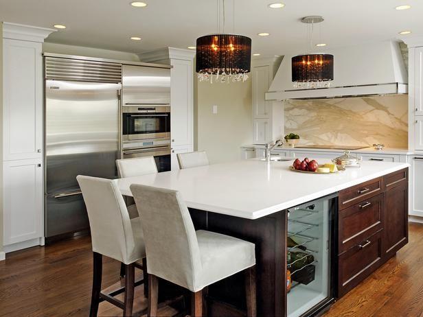 White Contemporary Kitchen Island - 99 Beautiful Kitchen Island Design Ideas on HGTV