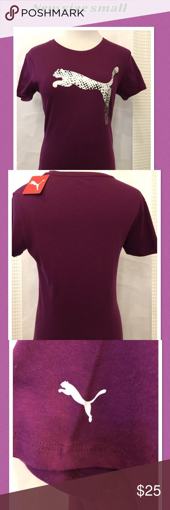 """NWT PUMA women purple T-Shirt Original Soft purple women tee size small Front logo Tag and sticker still on Never used In my closet  Would like to sell for my new Poshmark friend Length 23"""" Bust 33"""" Waist 27"""" Puma Tops Tees - Short Sleeve"""